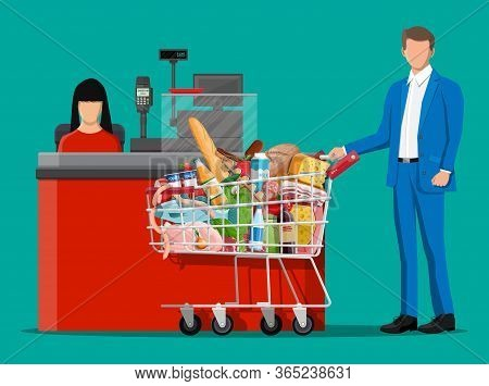 Groceries In Checkout Counter. Grocery Store Collection. Supermarket. Fresh Organic Food Drinks. Mil