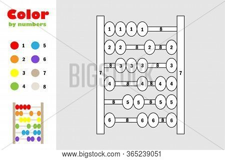 Abacus In Cartoon Style, Color By Number, Education Paper Game For The Development Of Children, Colo