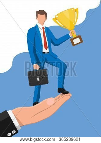 Successful Businessman On Hand Holding Trophy And Briefcase, Celebrates His Victory. Business Succes
