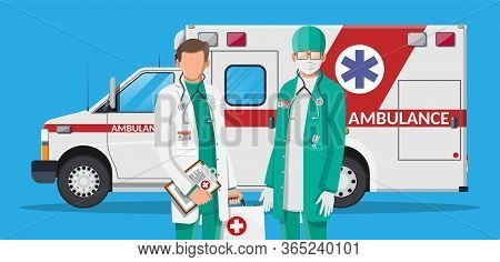 Ambulance Staff Concept. Doctor In White Coat With Stethoscope And Case. Ambulance Car, Emergency Ve
