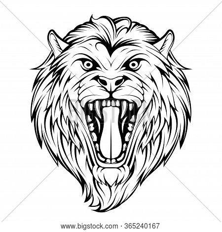Head Angry, Roar Lion. Tattoo King Lion. Crown King. Predator Animal. Lion Mascot Color Logo. Animal