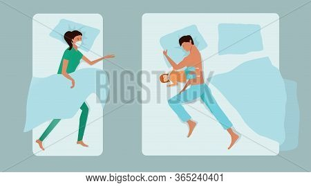 A Young Family Sleeps Separately In Different Beds. Father With Daughter On Parental Bed, Mother - D