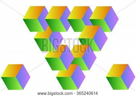 The Impossible Shape Of A Triangle, The Sides Of Which Are Made Up Of Cubes, They Have Sides Of Diff