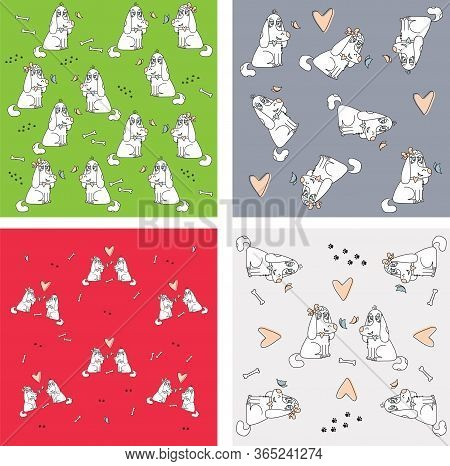 4 Multi-colored Patterns. Dogs He And She On A Yellow, Green, Red, White Background Seamless Pattern