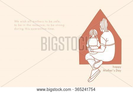 Happy Mothers Day Greeting Card. Mom Hugs Her Child Daughter.