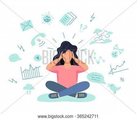 Female Gets Too Much Information. Information And Data Overload Concept. Digital Information Overloa