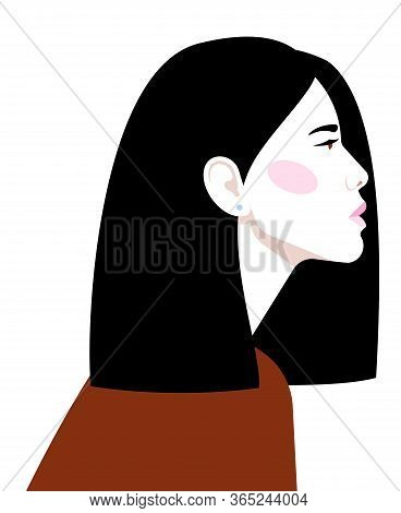 Portrait Of Beautiful Asian Woman. Confident Strong Woman Looks Forward. Feminist, Professional, Mot