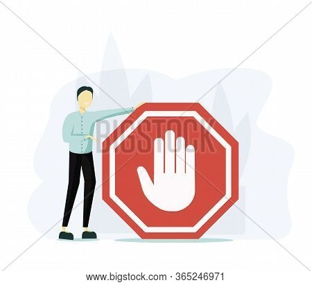 Stop Sign Vector Illustration. Flat Tiny Prohibition No Gesture Person Concept. Symbolic Warning, Da