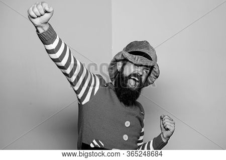 St Patricks Day. Hipster With Beard Wearing Green Costume For Party. Cheerful Man Celebrate Holiday.