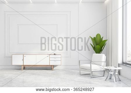 Interior Of Modern Living Room With White Walls, Concrete Floor, White Cabinet And Armchair Near Rou