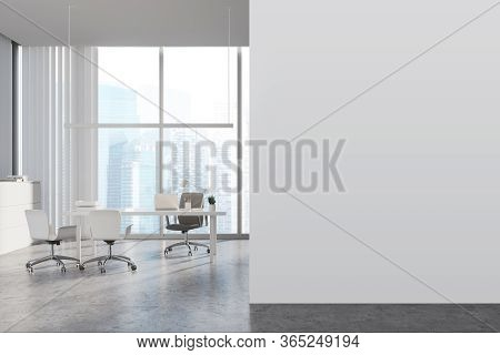 Interior Of Panoramic Ceo Office With White Walls, Concrete Floor, White Computer Table With Chairs