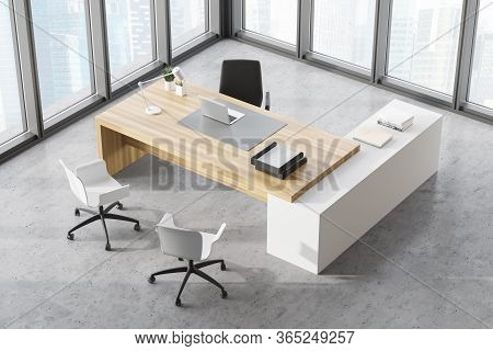 Top View Of Panoramic Ceo Office With Concrete Floor, White And Wooden Computer Table And Chairs For