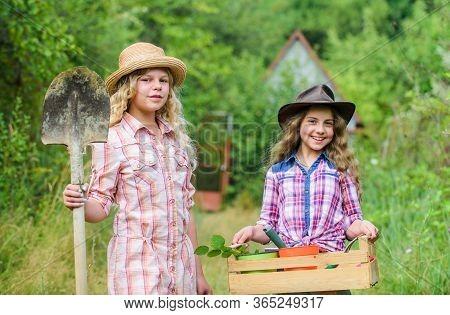 Gardening Basics. Child Friendly Garden Tools Ensure Safety Of Child Gardener. Girls With Gardening