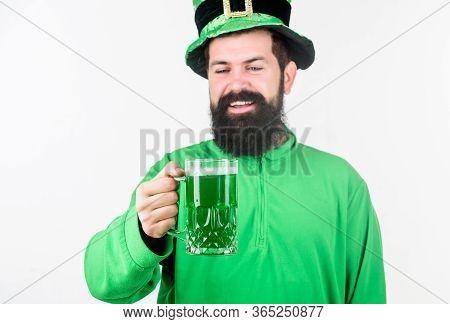 Instant Irish Just Add Beer. Bearded Man Toasting To Saint Patricks Day. Irish Man With Beard Drinki