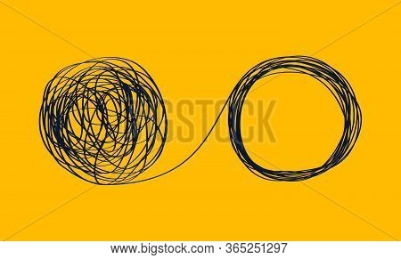 Concept Icon Showing The Unraveling Of A Tangled Line. Metaphor For A Mentor Or Coach In Problems Bu