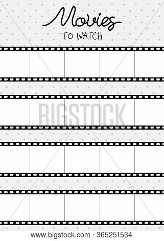 Vector Illustration For Printable With Cine-film On Polka Dot Background. Minimalist Planner Of Watc