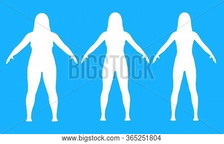 Steps Of Losing Weight Woman On Blue Background From Fat To Slim. Overweight Woman Before And After