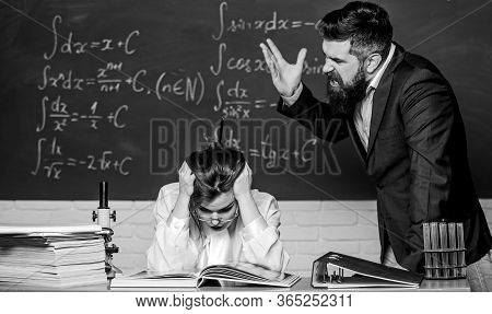 Teacher Strict Serious Bearded Man Having Conflict With Student Girl. Conflict Situation. School Con