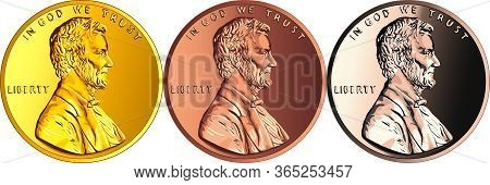 Set Of Coins Made Of Different Metal, Usa Money One Cent Or Penny, Lincoln Cent Coin With President