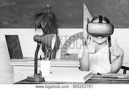 Studying In Virtual Reality. Modern Technology. Interesting Lesson. Homeschooling Online. Girl Kid S