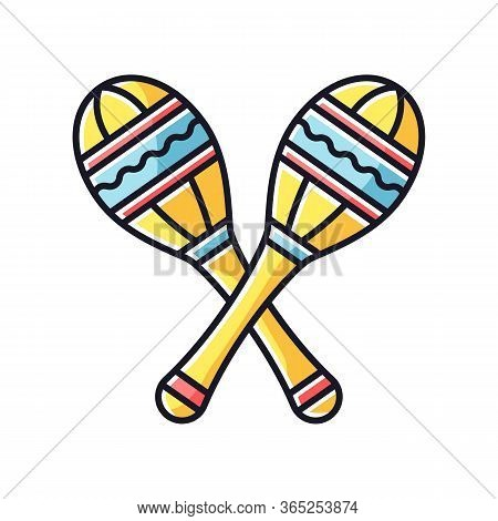 Maracas Rgb Color Icon. Traditional Musical Instrument For Ethnic Festival. Crossed Shakers For Band