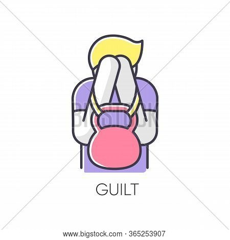 Guilt Rgb Color Icon. Man Feeling Ashamed. Mental Health Issue. Heavy Weight Of Self Blame. Psycholo