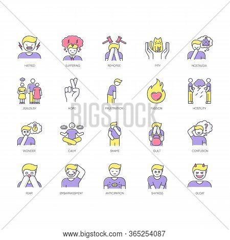 Human Feelings Rgb Color Icons Set. Psychological Treatment. Positive Attitude. Negative Behaviour.
