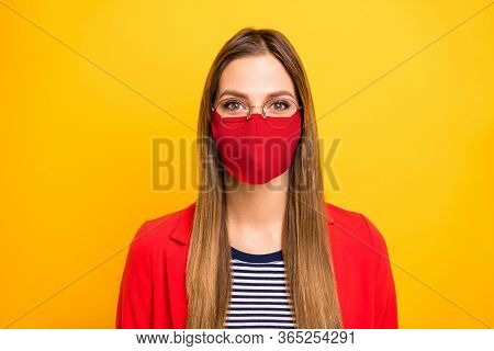 Closeup Portrait Of Attractive Lovely Winsome Brainy Genius Straight Hair Lady Use Protective Facial
