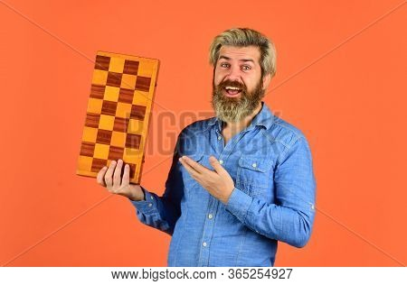 Teacher Chess Competition. Game Strategy Concept. Board Game. Man Playing Chess. Intelligent Bearded
