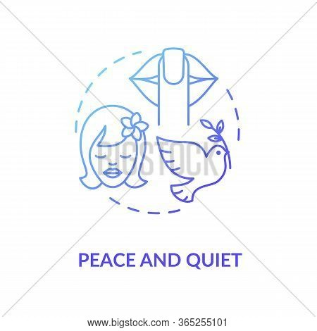 Peace And Quiet Blue Concept Icon. Stress Relief. Tranquil Mind. Psychological Wellbeing And Wellnes