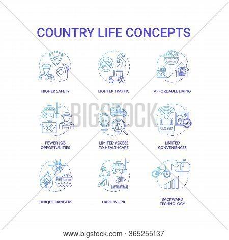 Country Life Blue Concept Icons Set. Advantage And Disadvantage Of Farming. Work Outside City. Villa