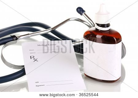 Pharmacist prescription with drops isolated on white