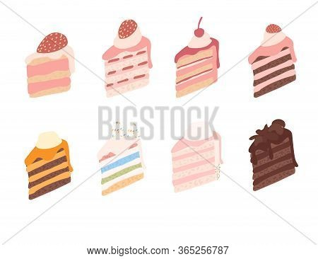 Piece Of Cake With Different Ingredients Cream-topped Multi-layer Cake Flat Vector Illustration Isol