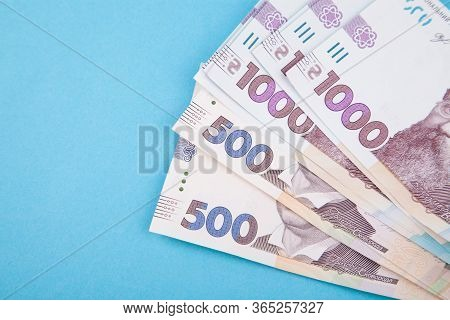 Ukrainian Hryvnia, Several Banknotes Of 1000 And 500 Hryvnias. Financial Background From Ukrainian B