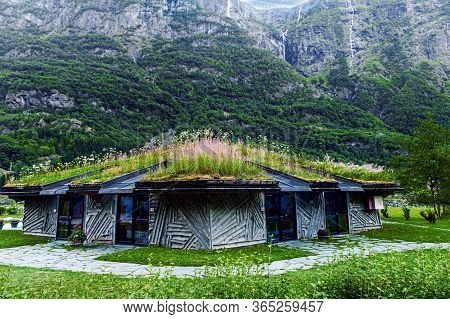 July 27, 2013, Gudvangen, Norway: Viking Houses With Grass Roofs. Traditional Wooden Houses Demonstr