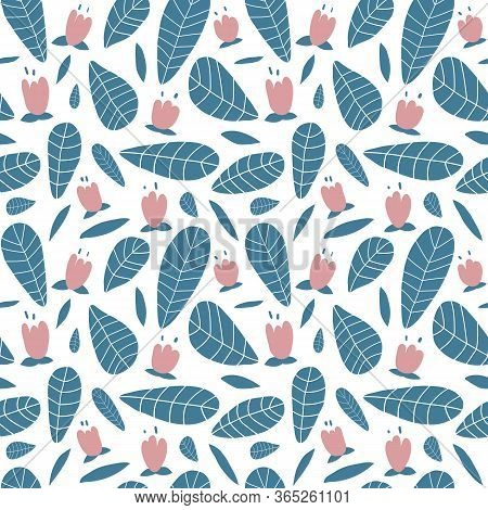 Pastel Blue And Pink Floral Vector Pattern. Hand Drawn Leaves And Flowers On White Background. Cute