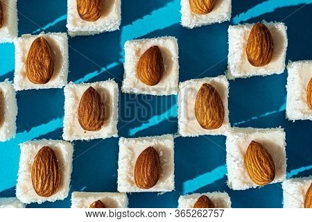 Square Shaped Turkish Delight Lokum Sweets Close Up