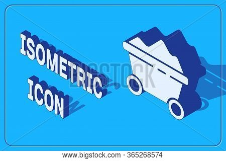 Isometric Coal Mine Trolley Icon Isolated On Blue Background. Factory Coal Mine Trolley. Vector Illu