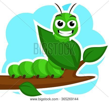 A Caterpillar Smiles And Eats A Green Leaf On A White. Character