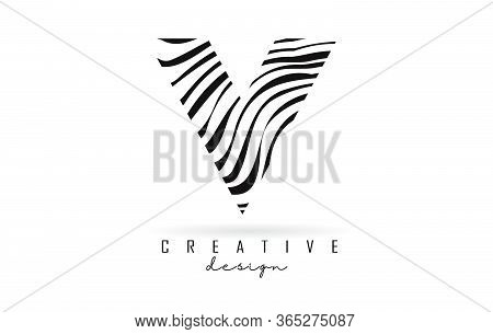 Black And White Zebra V Letter Logo Design. Creative V Vector Illustration With Lines.