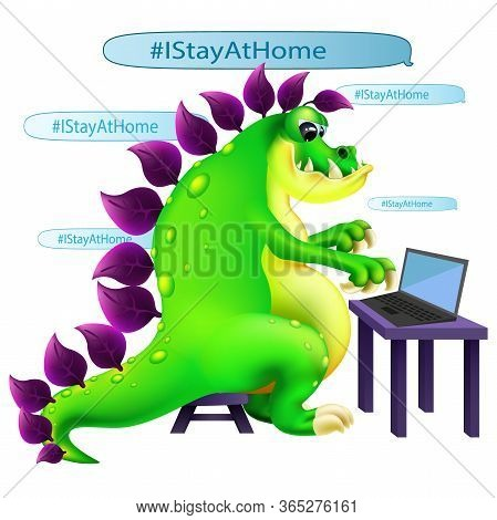 Funny Cartoon Green Dinosaur Sit With Laptop Social Media Campaign And Writing