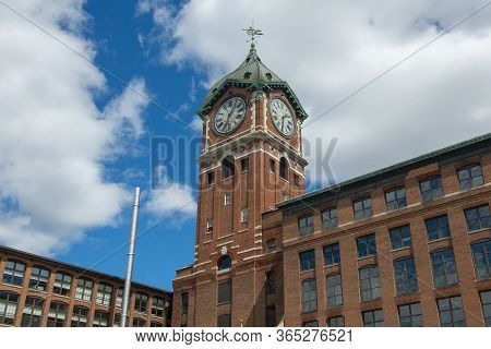Historic Ayer Mills By The Merrimack River In Downtown Lawrence, Massachusetts Ma, Usa.