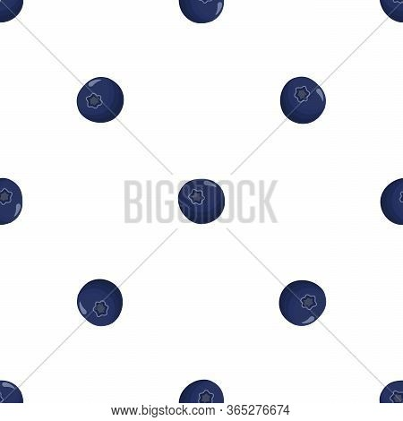 Theme Big Colored Seamless Blueberry, Bright Berry Pattern For Seal. Berry Pattern Consisting Of Bea