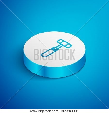 Isometric Line Neurology Reflex Hammer Icon Isolated On Blue Background. White Circle Button. Vector