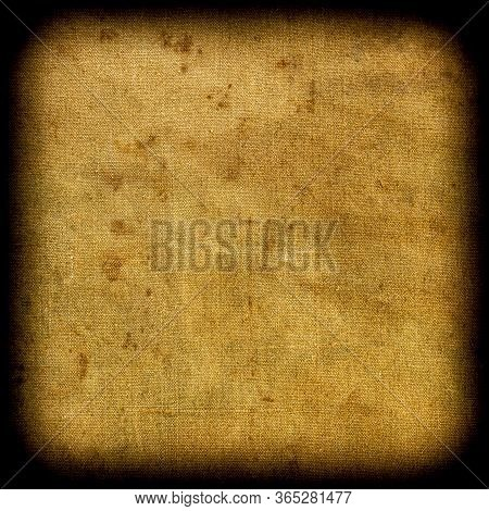 Background Looks Like A Square Fragment Of Weathered Mottled Textured Grunge Tarpaulin With A Vignet
