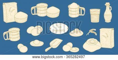 Main Ingredients Of Italian Pasta Recipe, Sketching Illustration In Retro Style