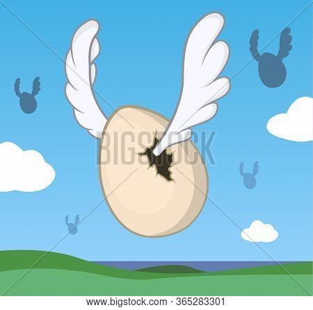 Flying Egg With Wings, Odd Humorous Cartoon Color Vector Illustration, Horizontal