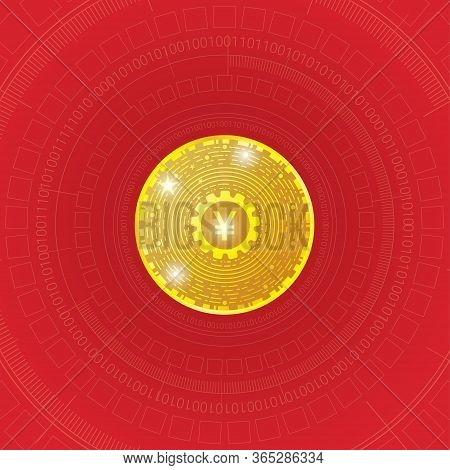 Digital Version Of The Chinese Yuan Currency Sign On Abstract Digital Background. Financial  High Te