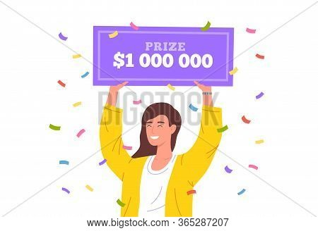Lucky Girl Win Lottery. Huge Money Prize In Lottery. Happy Winner Holding Bank Check For Million Dol