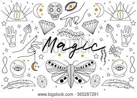 Magic Hand Drawn, Doodle, Sketch Line Style Set. Witchcraft Symbols.ethnic Esoteric Collection With